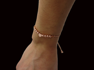 handmade 18k rose gold hematite adjustable monogram bracelet