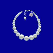 Load image into Gallery viewer, a handmade monogram pearl charm bracelet, white or custom color
