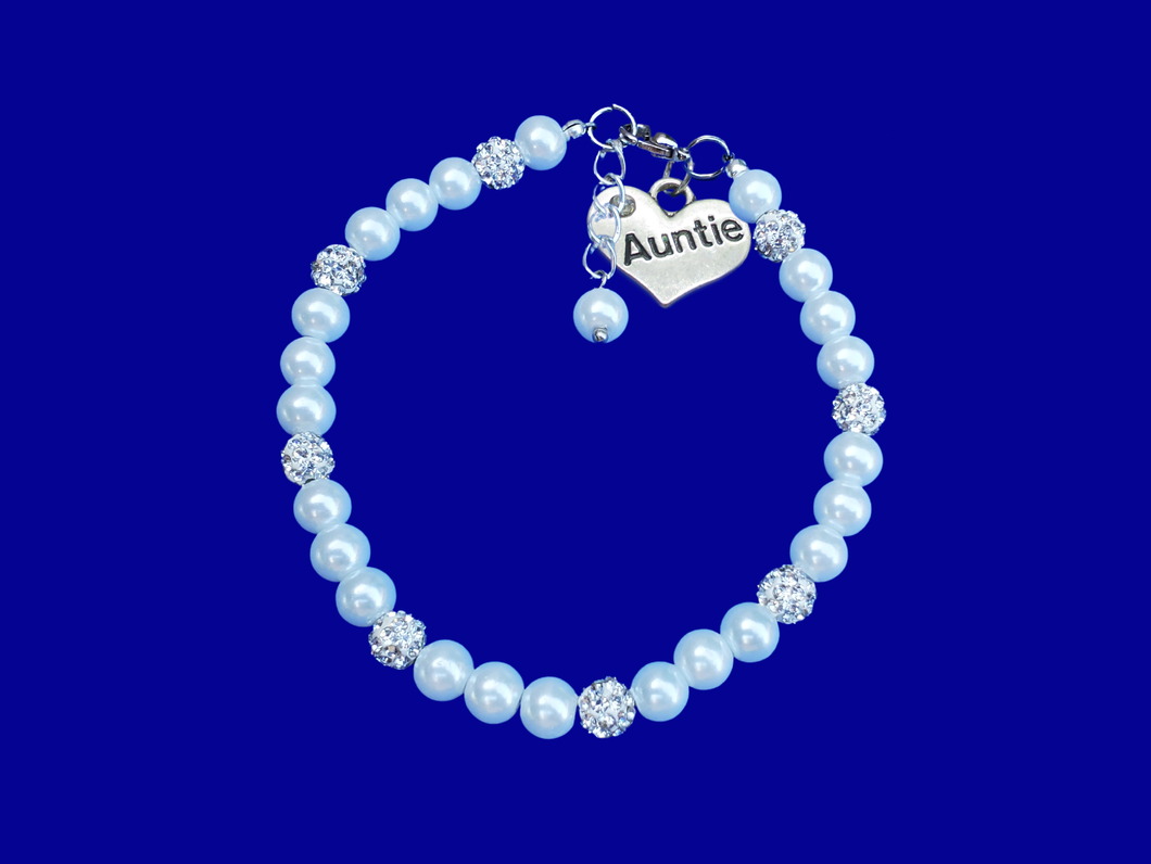 New Auntie Gift - Auntie Bracelet - Auntie Gift Ideas, handmade auntie pearl and crystal charm bracelet, white or custom color