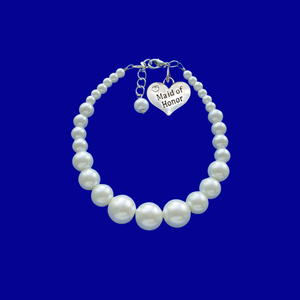 maid of honor pearl charm bracelet, white or custom color