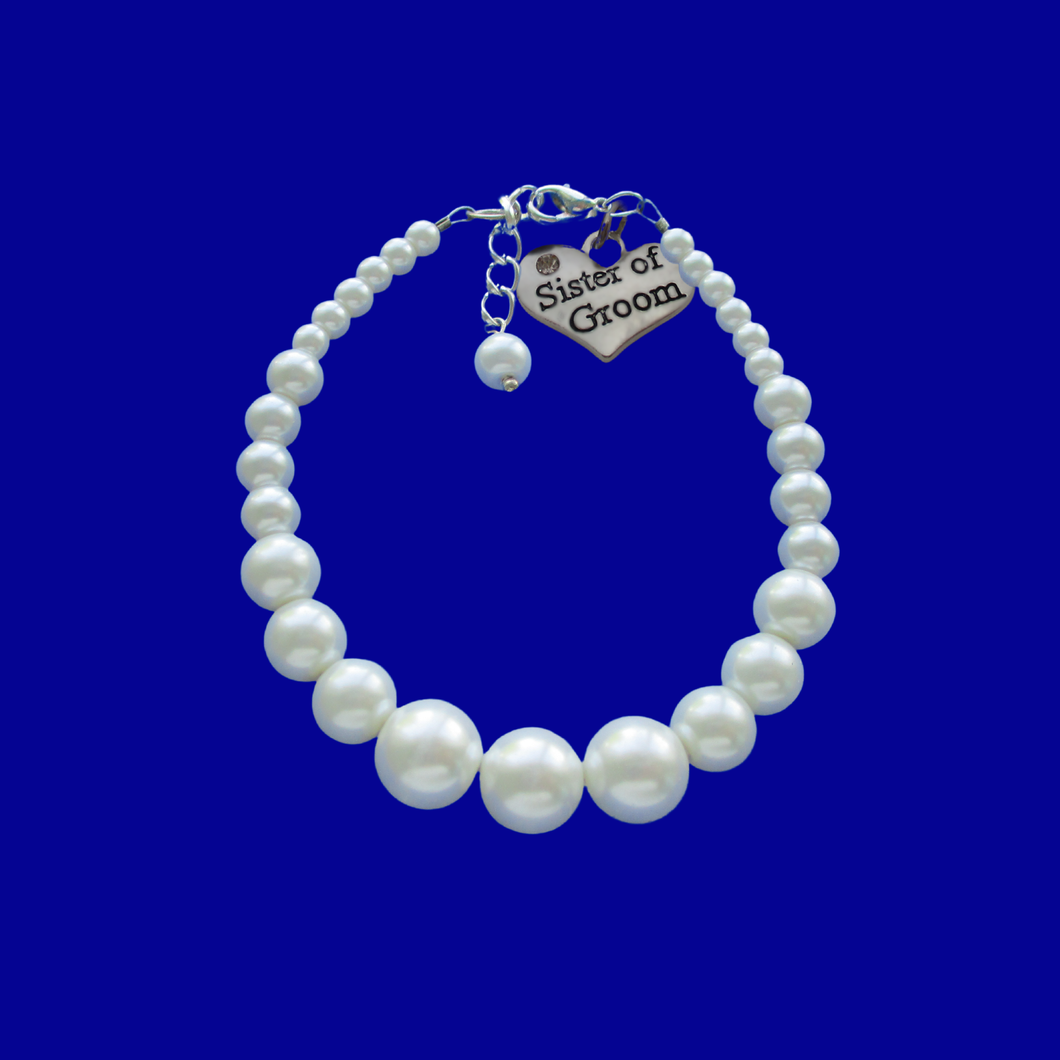 sister of the groom pearl charm bracelet, white or custom color
