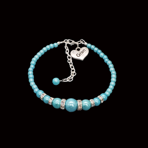 handmade gran pearl and crystal charm bracelet, aquamarine blue or custom color
