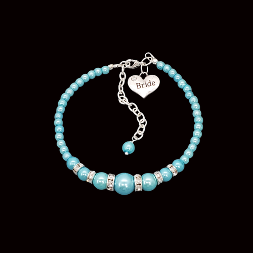 Bride Jewelry - Bride Gift Ideas - Bride Gift, handmade bride pearl and crystal charm bracelet, aquamarine blue or custom color