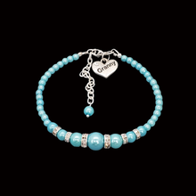 Load image into Gallery viewer, handmade granny pearl and crystal charm bracelet, aquamarine blue or custom color
