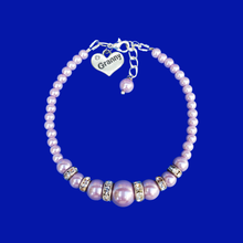 Load image into Gallery viewer, granny handmade pearl and crystal charm bracelet, lavender purple or custom color