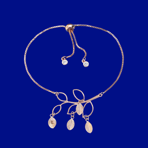 Meaningful Gifts For Mom - Gifts For Mom - Bracelets - A beautiful handmade 18k family tree leaf charm bracelet. This stunning bracelet will make a gorgeous gift for your mother or grand mother! Each leaf represents the initial of a child or grand child.