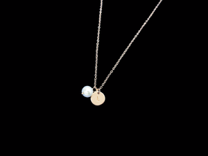 Monogram Rose Gold Pearl Charm Necklace
