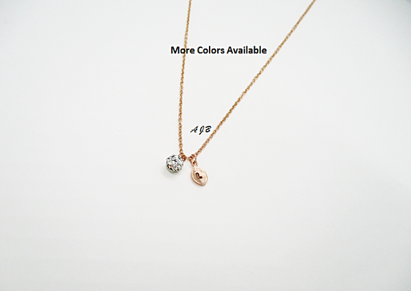 Monogram Rose Gold Leaf Pave Necklace