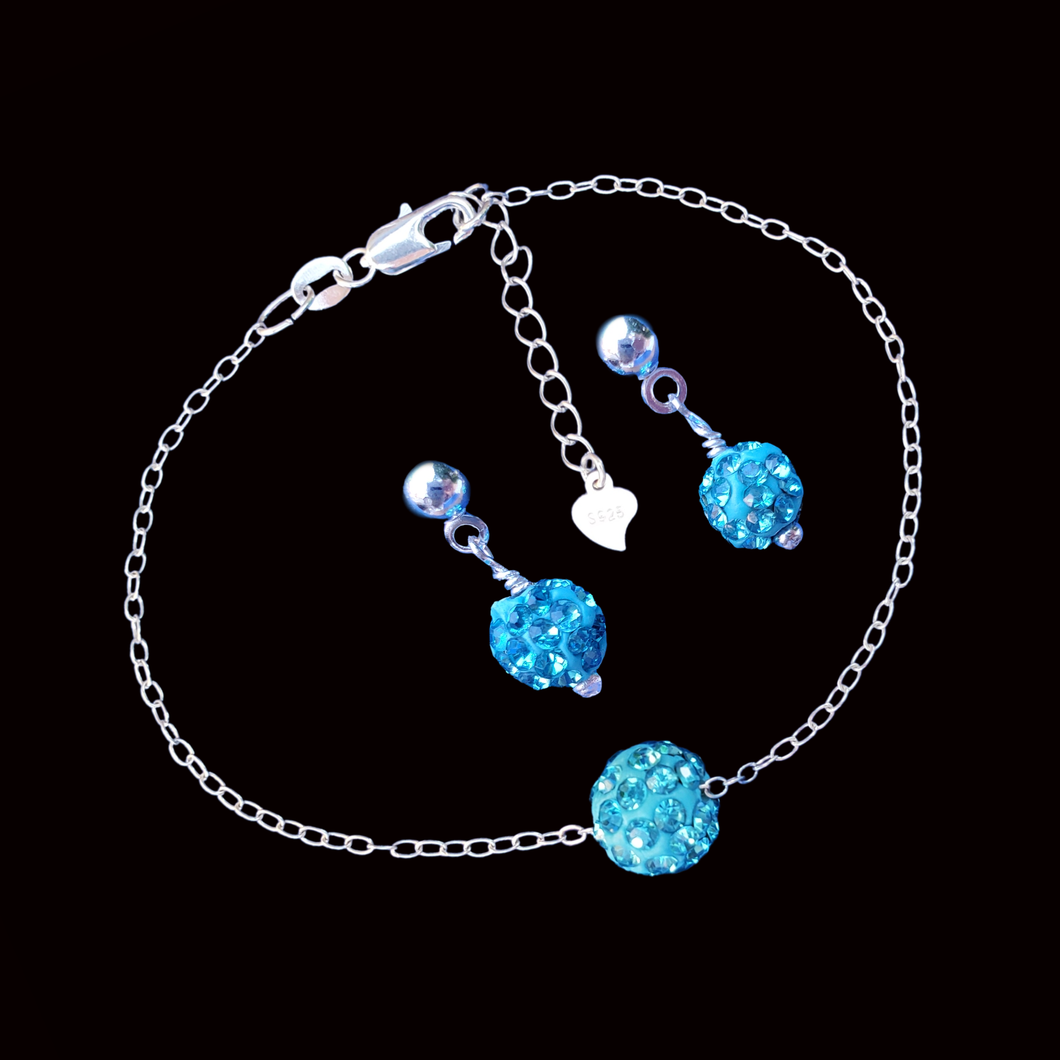 handmade floating crystal bracelet accompanied by a pair of earrings, aquamarine blue or custom color