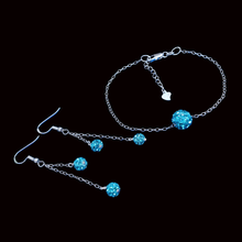 Load image into Gallery viewer, Bracelet Sets - Earring Sets - Bridal Jewelry Set, handmade floating crystal bracelet accompanied by a pair of matching multi-strand drop earrings, blue or custom color