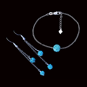 Bracelet Sets - Earring Sets - Bridal Jewelry Set, handmade floating crystal bracelet accompanied by a pair of matching multi-strand drop earrings, blue or custom color