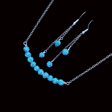 Load image into Gallery viewer, Necklace Set - Wedding Sets - Necklace And Earring Set, handmade crystal bar necklace accompanied by a matching bracelet and a pair of multi-strand drop earrings, aquamarine blue or custom color