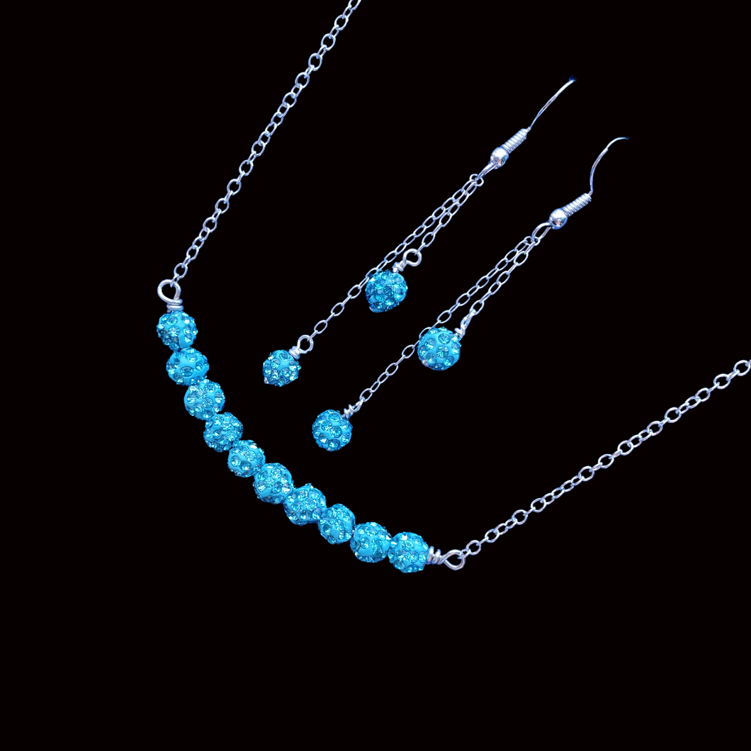 Necklace Set - Wedding Sets - Necklace And Earring Set, handmade crystal bar necklace accompanied by a matching bracelet and a pair of multi-strand drop earrings, aquamarine blue or custom color
