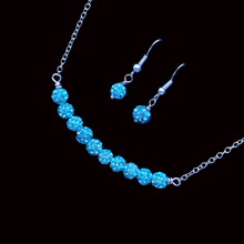 Load image into Gallery viewer, handmade crystal bar necklace accompanied by a pair of earrings