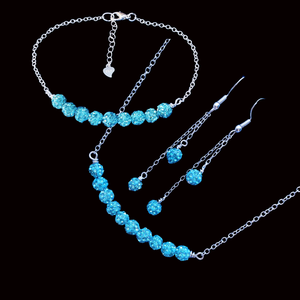 crystal bar necklace bar bracelet multi strand drop earring jewelry set, aquamarine blue or custom color
