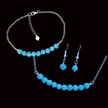 Load image into Gallery viewer,  handmade pave crystal rhinestone bar necklace accompanied by a matching bracelet and a pair of earrings