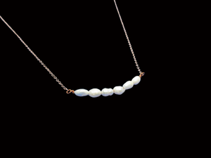 handmade fresh water pearl bar necklace