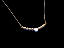 Load image into Gallery viewer, A handmade monogram rose gold hematite necklace.