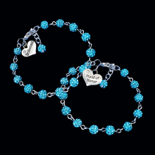 Load image into Gallery viewer, handmade bridesmaid and maid of honor crystal charm bracelets, aquamarine blue or custom color