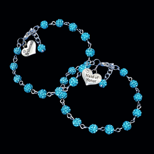 handmade bridesmaid and maid of honor crystal charm bracelets, aquamarine blue or custom color