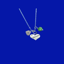 Load image into Gallery viewer, mommy handmade monogram crystal drop necklace, peridot (green) or custom color