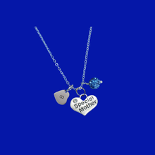 Load image into Gallery viewer, Monogram Special Mother Pave Drop Necklace, blue or custom color