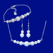 Load image into Gallery viewer, Necklace Set - Jewelry Set - Bridal Party Gifts, pearl and crystal bar necklace accompanied by a matching bar bracelet and a pair of drop earrings, white or custom color