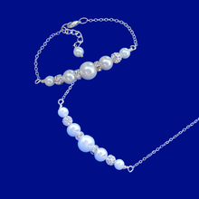 Load image into Gallery viewer, Necklace And Bracelet Set - Pearl Set - Bridal Sets, pearl and crystal bar necklace accompanied by a matching bar bracelet, white or custom color