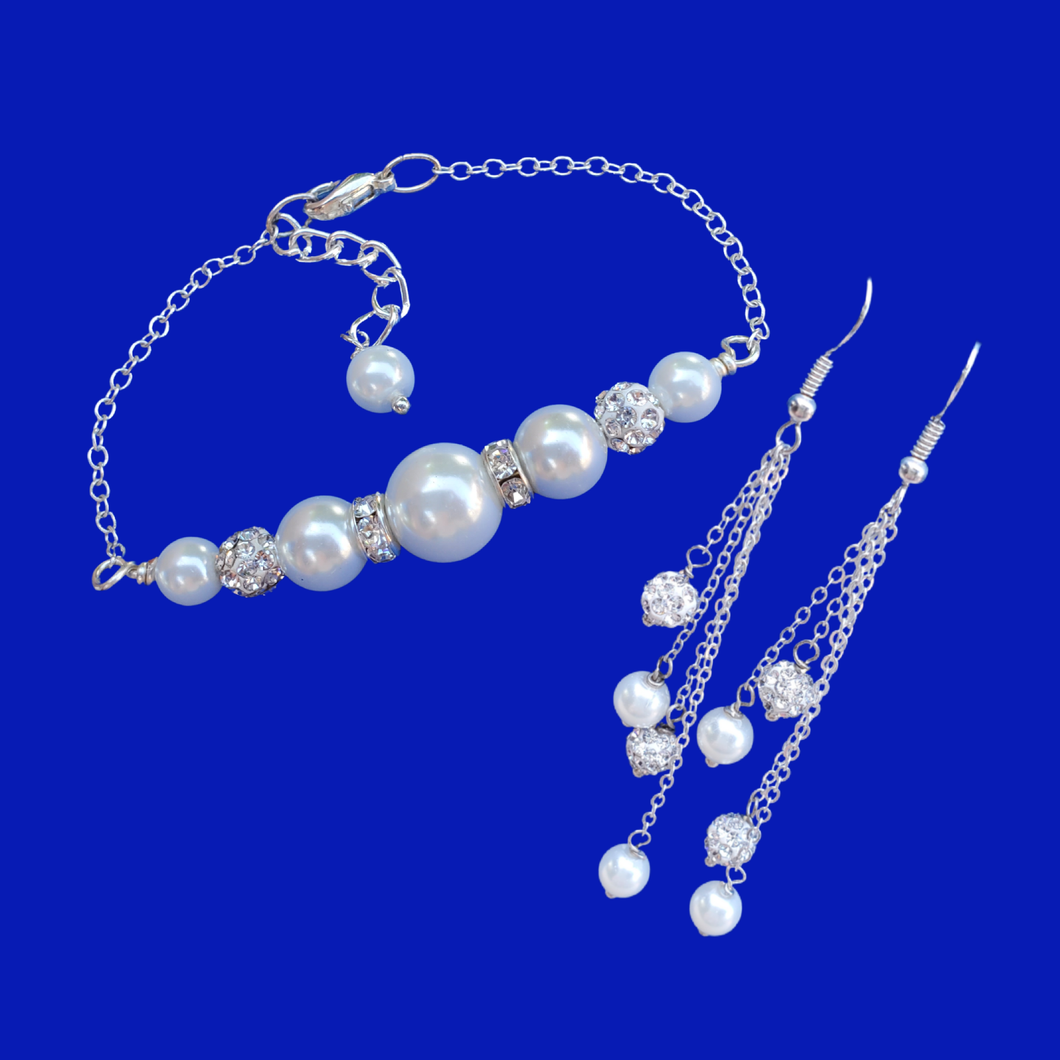 Pearl Jewelry Set - Earrings Sets - Bracelet Sets, handmade pearl and crystal bar bracelet accompanied by a pair of multi-strand drop earrings, white or custom color