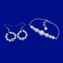 Load image into Gallery viewer, Pearl Set - Bracelet Sets - Wedding Sets, pearl and crystal bar bracelet accompanied by a matching pair of hoop drop earrings, white or custom color