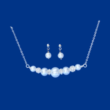 Load image into Gallery viewer, Stud Earrings Set - Necklace And Earring Set, handmade pearl and crystal bar necklace accompanied by a pair of stud earrings, white or custom color