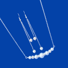 Load image into Gallery viewer, Handmade Pearl Pave Crystal Bar Necklace Accompanied by a Pair of Multi Strand Drop Earrings