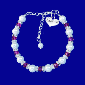 daughter handmade pearl and crystal charm bracelet