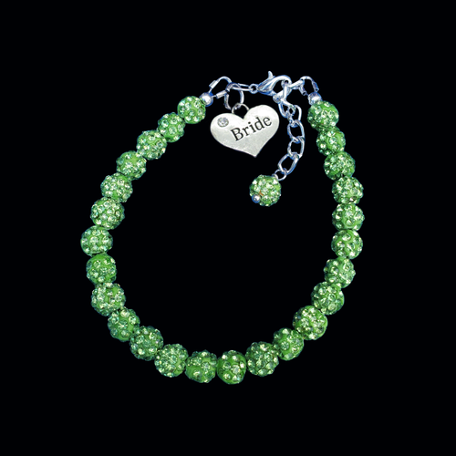 Bridal Gift Ideas - Bride Jewelry - Bride Gift, bride crystal charm bracelet, peridot or custom color
