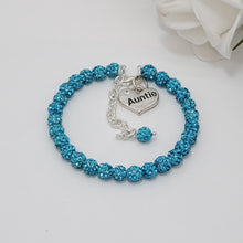 Load image into Gallery viewer, auntie pave crystal charm bracelet, aquamarine blue or custom color