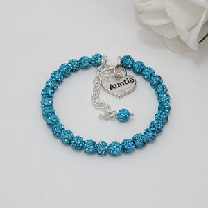 auntie pave crystal charm bracelet, aquamarine blue or custom color