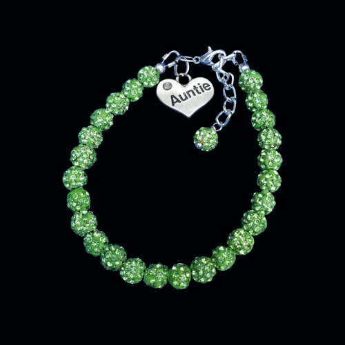 Gifts For Your Aunt - Auntie Gift - Auntie Gift Ideas, auntie pave crystal rhinestone charm bracelet, peridot or custom color