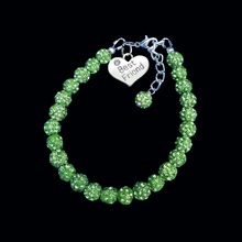 Load image into Gallery viewer, Best Friend Bracelet - Best Friend Gift - Friend Gift, best friend crystal charm bracelet, peridot, green or custom color