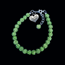 Load image into Gallery viewer, Maid of Honor Pave Charm Bracelet, peridot or custom color