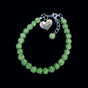 Maid of Honor Pave Charm Bracelet, peridot or custom color