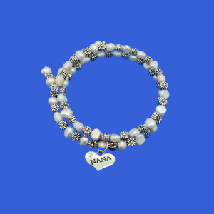 nana fresh water pearl floral expandable, multi layer wrap charm bracelet, tibetan silver and ivory or tibetan gold and ivory