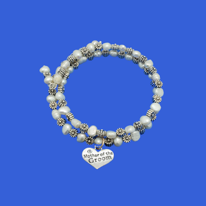 mother of the groom fresh water pearl and floral expandable, multi-layer, wrap charm bracelet