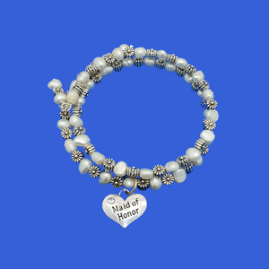Handmade Maid of Honor Fresh Water Pearl and Floral Multi-Layer Expandable Wrap Charm Bracelet