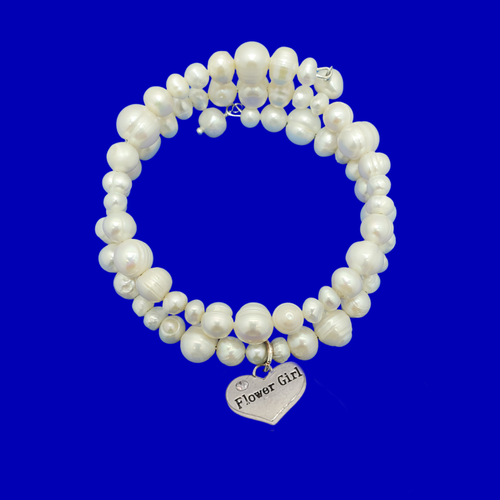 flower girl fresh water pearl expandable multi layer wrap charm bracelet, ivory
