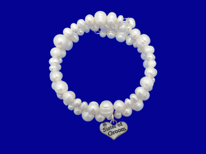 Sister of the Groom Fresh Water Pearl Wrap Charm Bracelet, ivory