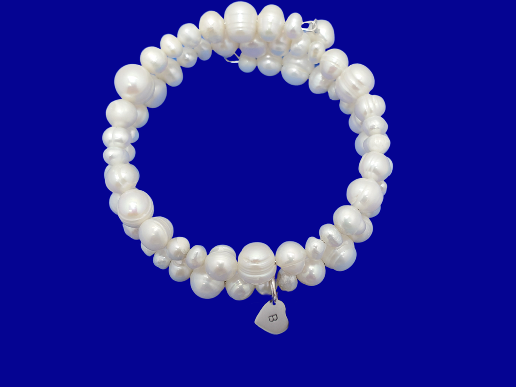 Monogram Fresh Water Pearl Multi-Layer Expandable Wrap Charm Bracelet, ivory