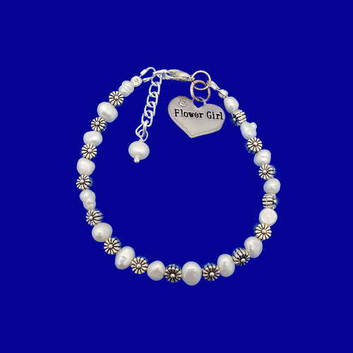 Flower Girl Fresh Water Pearl Floral Charm Bracelet, ivory and silver