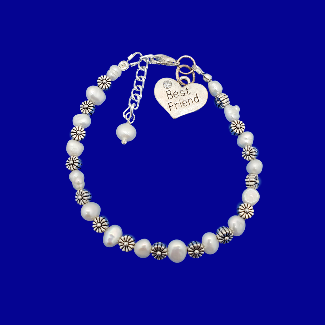 best friend fresh water pearl floral charm bracelet, ivory and tibetan silver or ivory and tibetan gold