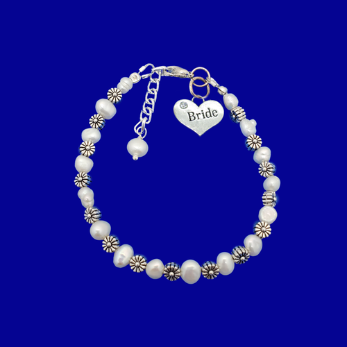 Bride Jewelry - Bride Gift - Bridal Gift Ideas, bride froral and fresh water pearl charm bracelet, ivory and silver