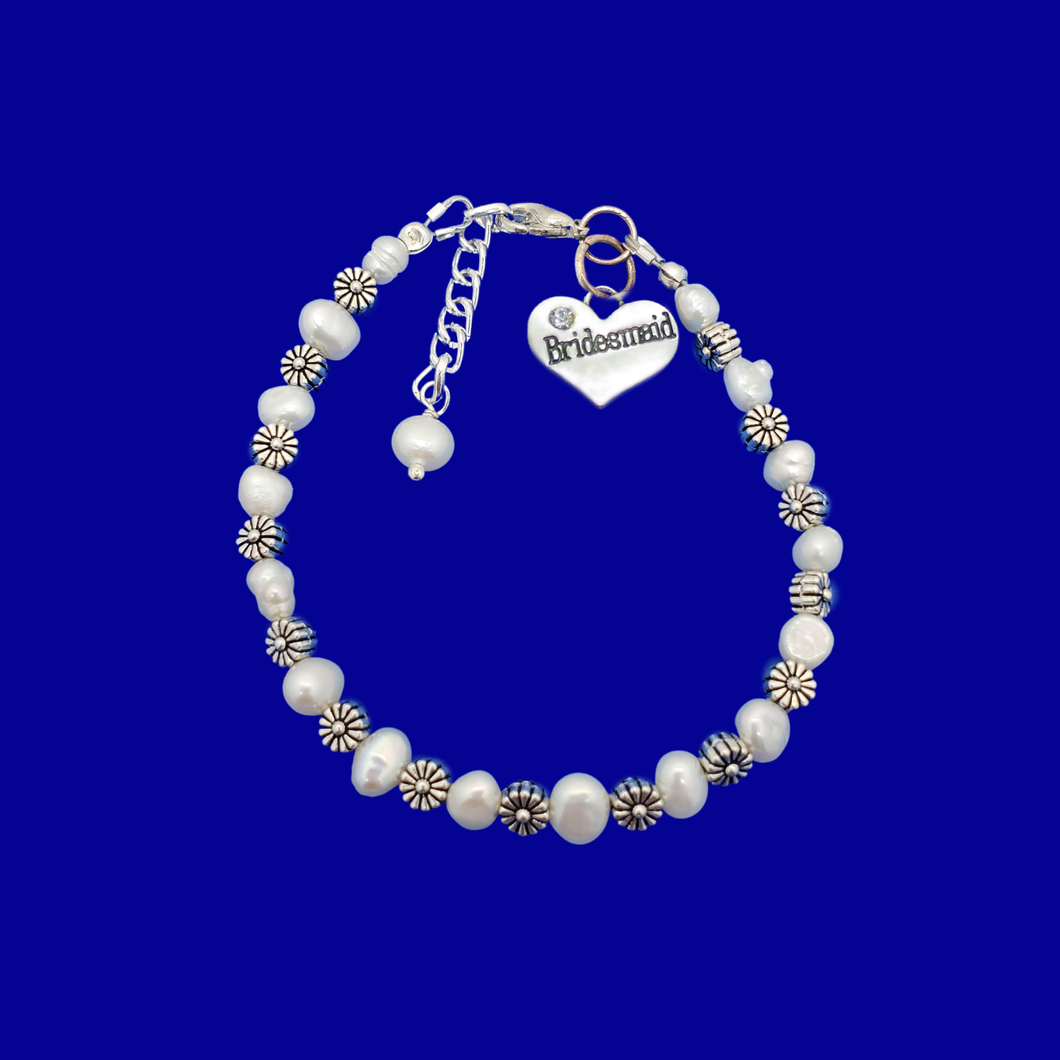 bridesmaid floral fresh water pearl charm bracelet, ivory and tibetan silver